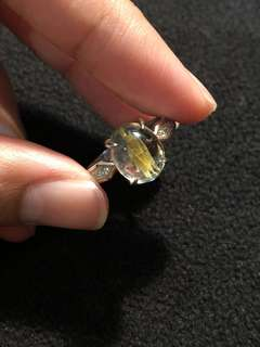 Natural gold rutilated ring  钛晶戒指