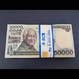 100PCS UNC Consecutive Run INDONESIA 50,000 Rupiah 1995/1998 Commemorative Bundle Stack Plane Boat