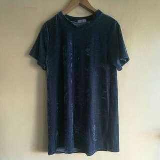 Blue Velvet Sheer A-Line Dress