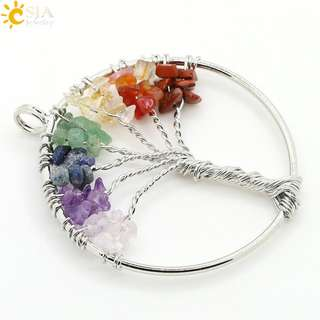 Tree of Life Stone Necklace - Multi colour