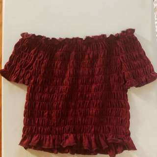 Red Maroon Smocked Off - Shoulder Top Blouse Shirt Off-shoulder