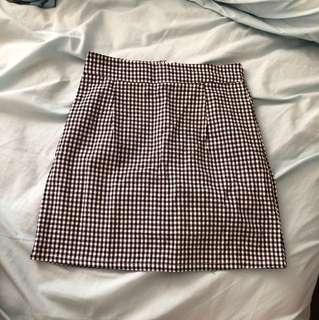 Korean checked high-waist skirt