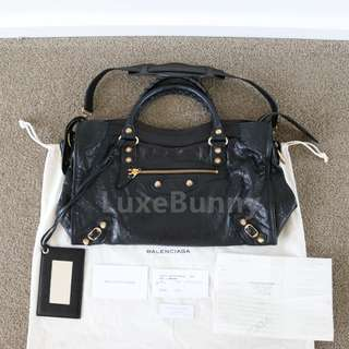 Authentic Balenciaga Classic Gold City Tote in black