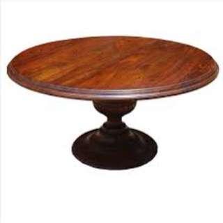 Big Round Solid Wood Kitchen/Work Barrel Table