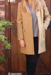 TOPSHOP Tan Wool Coat size XS