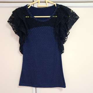 Polkadot Blouse Top with Lace Sleeves