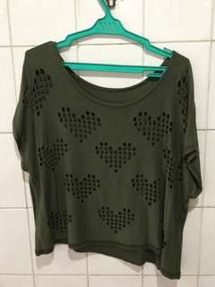 Forest green Crop top with heart holes