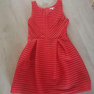 BN Korean Red Net Flare Dress