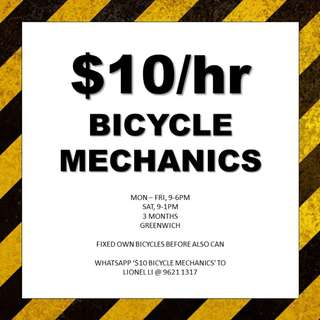 $10/HR BICYCLE MECHANICS