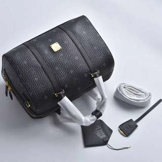 MCM Leather Boston Bag Black Colour