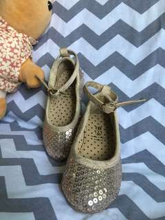 Pre-loved gold sequined doll shoes for toddlers