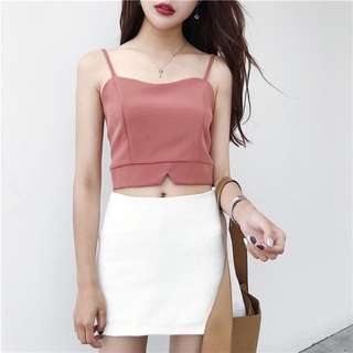 Cropped top in blush/brick red