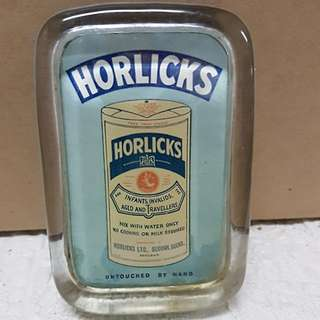 Vintage Horlicks advertisement in glass casing