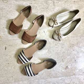 Ballet & Sandal Flats (Nude bow, Navy and White stripes, brown PVC leather)