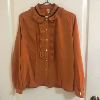 BNWT Orange Long Sleeved Shirt with Ruffles