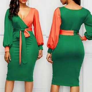 Stylish V Neck Color Match Bandage Wrap Dress