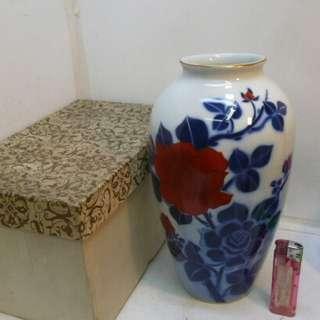 秀峰作 白瓷彩繪玫瑰金邊大花瓶