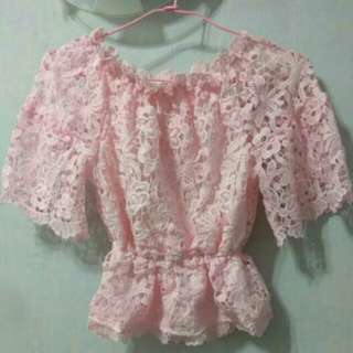 Crochet Pink Off Shoulder Blouse