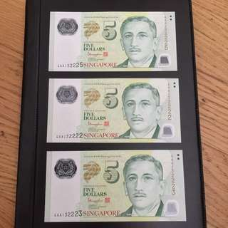 Portrait $5 UNC Tharman AA First Prefix notes (3 pc)
