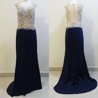 Evening Dinner Long Sequined Bedazzled Gown Dress