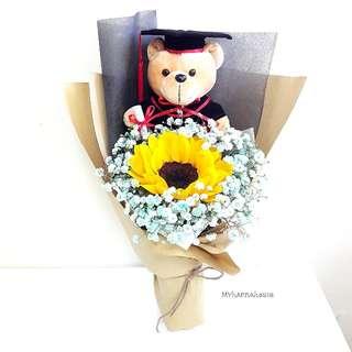 Fresh Flower 🌼🌻 Sunflower and Bear Bouquet