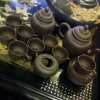 Chinese Clay Vintage Tea Set Many Pieces