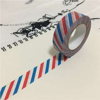 Red and Blue Stripes Washi Tape Sample [#002W]