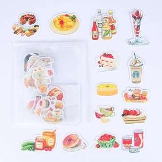 (包平郵)水彩食物可愛貼紙包