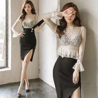 韓版名媛蕾絲上衣+背帶連衣裙兩件套套裝