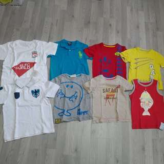 PRELOVED N BN POLO RALPH LAUREN + MOTHERCARE + GIORDANO + LIVERPOOL BOYS TOPS - ALL 8 PCS FOR $20 ONLY!!!