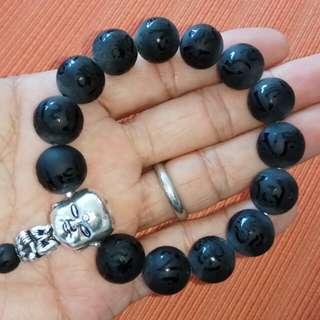 14mm Black Agate Matt Om Mani Padme Hum Bracelet with a Silver Buddha in Meditation Bead