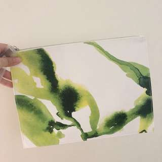 La Mer Flat Pouch Envelope Clutch Bag Leather Tote Zip