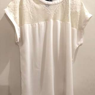 H&M elegant white lace-shouldered blouse