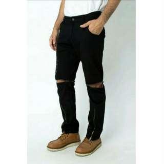 Unzipped Long Pants Celana Panjang Pendek Hitam
