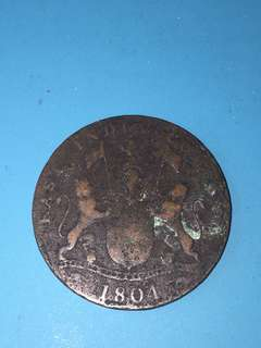 East India company copper coin 4 kepings Year 1804 sale 30%