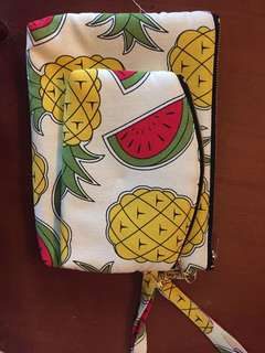 Fabric Pouch Set (pineapple and watermelon print)