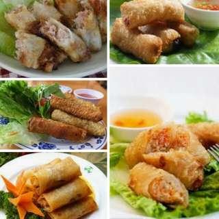 越南網絲海鮮/豬肉春卷