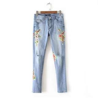 Brand New Floral Ripped Denim Jeans