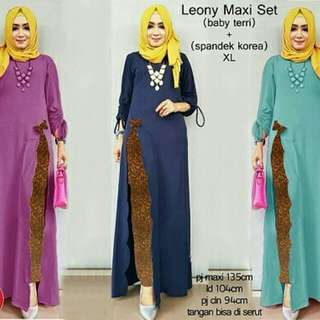 OF - Leony maxi set 96000 Maxi set bahan babyterry mix spndeks korea fit to XL Ld104 Pmaxi 135 , Pclna 94 , tangan bisa diserut