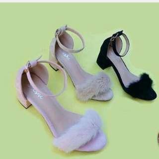 fur mid heels
