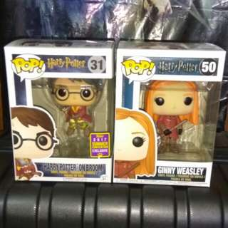 Harry Potter in Broom and Ginny Weasley Quidditch Funko Pop Bundle