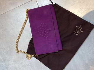 Mulberry suede clutch