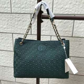 Tory Burch Marion Shopping Tote Green Colour