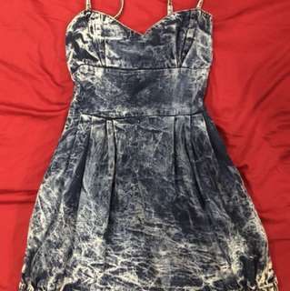 Zara Acid wash spaghetti dress