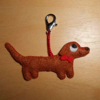 Dachshund plushie with bow and lobster clasp