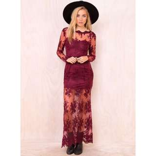Burgundy Red Lace Backless Formal Maxi Dress
