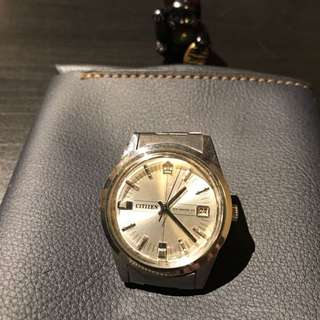 Citizen 星晨錶 手上鏈機芯 特別皇冠標誌 懷舊鐘錶 鋼帶原裝 約37mm