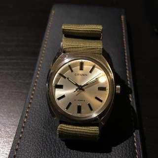 Citizen 星晨錶 懷舊鐘錶 光管字 罕有 手上鏈 36 mm 不跟圖中尼龍帶 淨錶頭