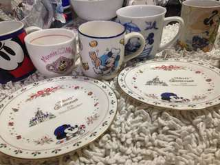 Authentic disney mickey minnie mouse mugs plates