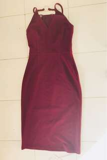 Red Wine midi bodycon dress | Formal Date wear